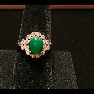 925 Silver Rings Oval Cut Emerald  Ring Size 9